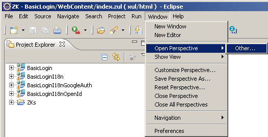Eclipse menu Window, Open Perspective, Other...